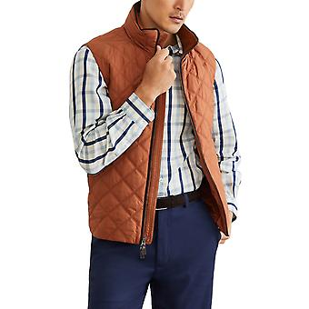 Brooks Brothers Men's Diamond Quilted Sleeveless Jacket Light