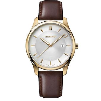 Wenger City Classic White Dial Brown Leather Strap Men's Watch 01.1441.107 RRP £99