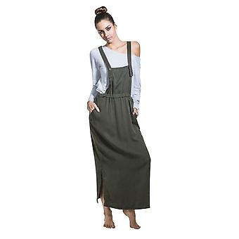 Long dungaree dress - green loose pinafore with t-shirt one size 8-14