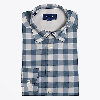 Eton  - Checked Twill Shirt - Blue/Grey