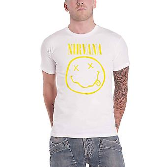 Nirvana T Shirt Yellow Smiley Band Logo new Official Mens White