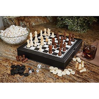 55-0206, Mainstreet Classics Chess - Checkers - Backgammon with Chessmen Storage