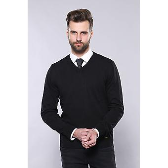 V neck black sweater | wessi