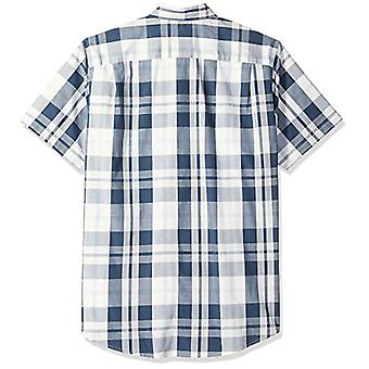 Essentials Men's Regular-Fit Short-Sleeve Plaid Casual Poplin Shirt, W...