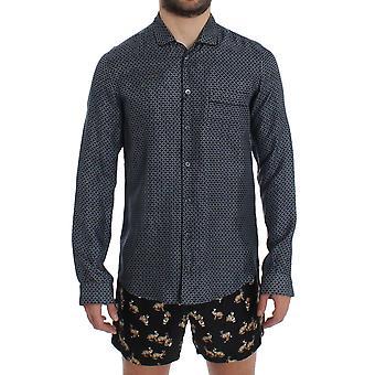 Dolce & Gabbana Blue Motive Print Silk Pajama Shirt Sleepwear SIG12380-1