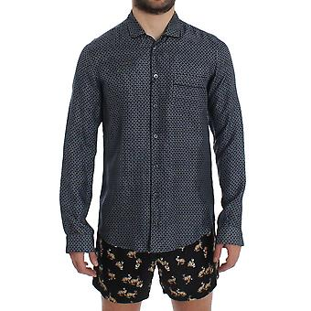 Dolce & Gabbana Blå Motiv Print Silk Pyjamas Skjorta Sleepwear SIG12380-1