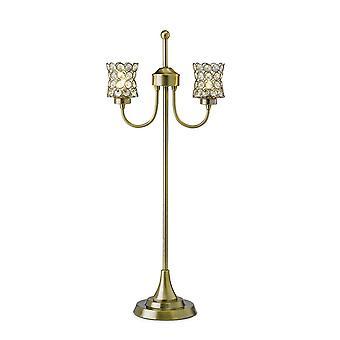 Bordlampe 2 Lys Antik Messing, Krystal
