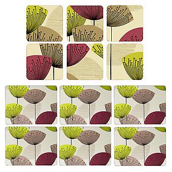Pimpernel Dandelion Clocks Placemats and Coasters Set of 6