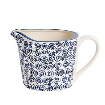 Nicola Spring Hand-Printed Measuring Jug - Japanese Style Porcelain Kitchen Cooking Jug with Measurements - Navy - 1L