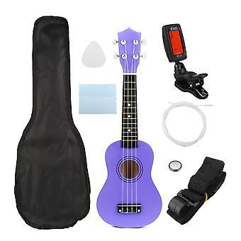 Ukulele Combo 21 Ukulele Black Soprano 4 Struny Uke Hawaii Bass Stringed Instrument Set Kits + Tuner + String + Strap + Bag