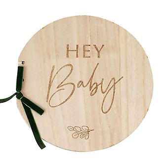 Puinen Hei Baby Shower Vieraskirja Muistoesine Kasvitieteellinen Vauva