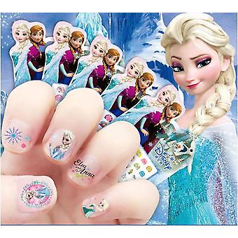 Girls Princess Frozen Elsa and Anna Nail Stickers,disney, Branca de Neve, Sophia