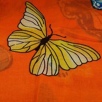 Ties Planet Butterfly Animal Print Orange Lightweight Women's Shawl Scarf