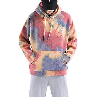 Allthemen Men's Casual Hooded Sweater Smudge Watercolor Trendy Long-sleeve Top Autumn