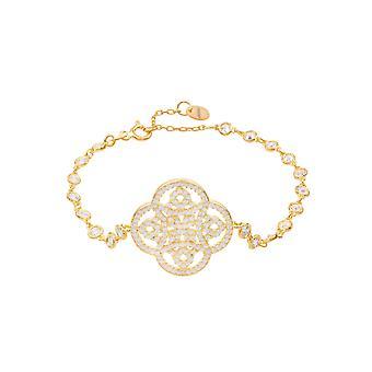 Stor gul hvid keltisk knude kløver Tennis CZ Brude smykker guld armbånd