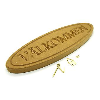 Välkommen Swedish welcome wooden sign with hanging kit
