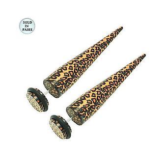 Paar Acryl 16g Leopard Haut gefälschte Ohr Bahre