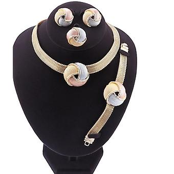 African Dubai Gold Bridal Jewelry Sets- Women Bracelet, Earrings, Wedding Party