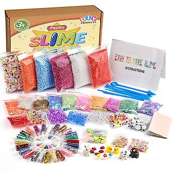Fepito 76 packs slime accessories kit including slime foam beads, fishbowl beads, wobbly eyes, shell