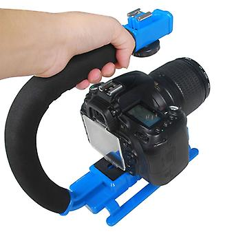 YELANGU S2-4 YLG0106B-D C-shaped Video Handle DV Bracket Stabilizer for All SLR Cameras and Home DV Camera(Blue)