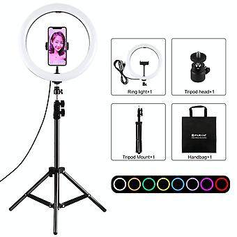 PULUZ 11.8 inch 30cm Light + 1.1m Tripod Mount Curved Surface RGBW Dimmable LED Ring Vlogging Photography Video Lights Live Broadcast Kits with Tripod