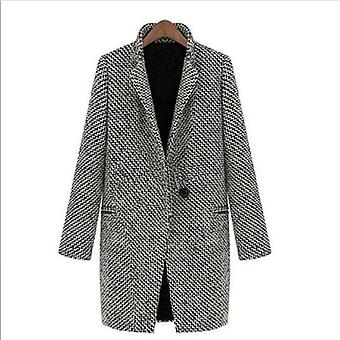 Winter Casual Long Sleeve Houndstooth Button Coat