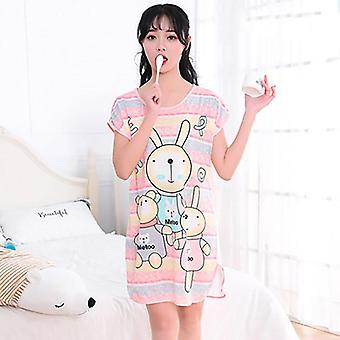 Print Cartoon Sexy Sleepwear Round Neck Lingerie Cute Nightdress Strap Thin