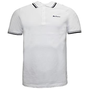 Ben Sherman Mens Tipped Pique Polo T-Shirt Short Sleeve Top White 0062104