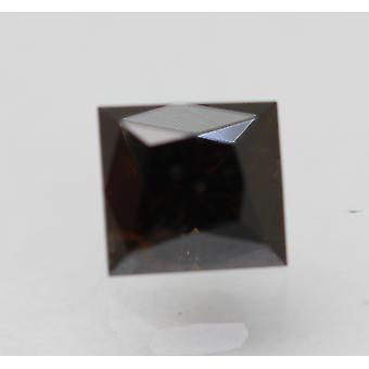 Sertifikantti 0,61 karat tummanruskea VS2 Prinsessa Enhanced Natural Diamond 4.55x4.29mm 2VG
