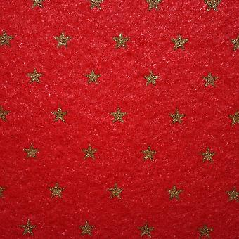 Dolls House Red Gold Star Self Adhesive Carpet Miniature Wall To Wall Flooring