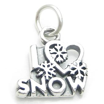 I Love Snow Sterling Silver Charm .925 X1 Christmas Skiing Snowing Charms - 3998