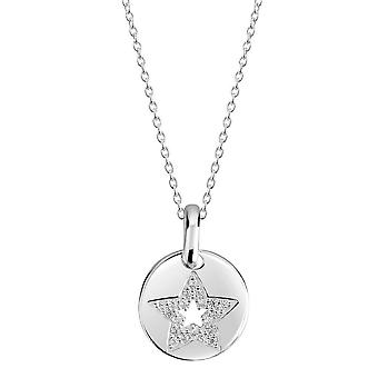 Dew Silver Rounded Disc With Cubic Zirconia Star Pendant 98349CZ027