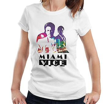 Miami Vice Sonny And Rico City Lights Silhouette Women's T-Shirt