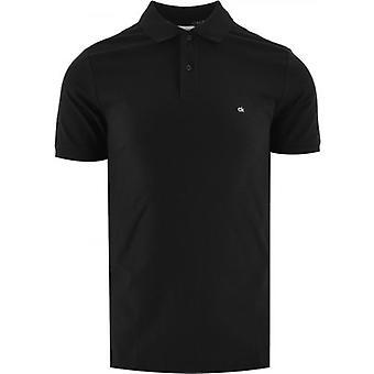 Calvin Klein Musta Logo Slim Fit Hienostunut Pique Poolopaita