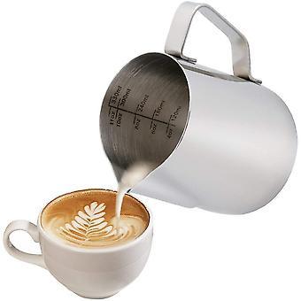 Milk Jug With Measuring Scale Milk Pitcher 350ml / 12 Fl.oz Milk Frothing Jug + Latte Art Pen / Barista Pen Silver