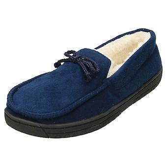 JWF Moccasin Slippers Full House Shoe Blue