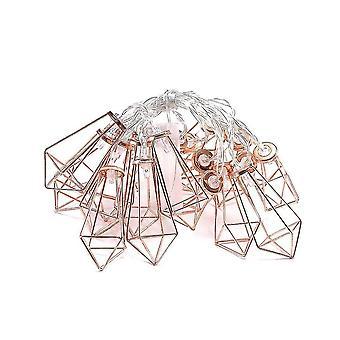 ダイヤモンドドロップフレームローズゴールド幾何学光ストリング