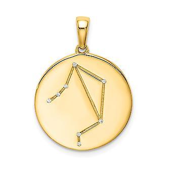 925 plata de ley 14k chapado en oro y CZ Circonio cúbico simulado diamante Libra Zodiac colgante collar colgante regalos de joyería regalos