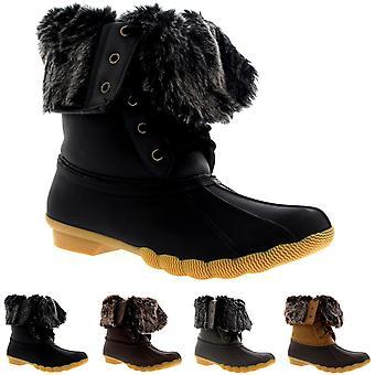 Womens Rubber Sole Deep Tread Winter Fold Down Fur Cuff Snow Rain Boots UK 3-10