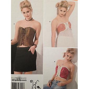 Yksinkertaisuus ompelu kuvio 2355 Naiset Misses Korsetit Koko 6-12 Leikkaamaton muoti