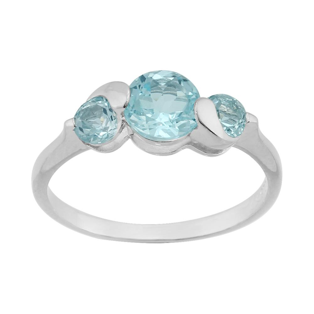 Sterling Silver 1.46ct Sky Blue Topaz Three Stone Ring