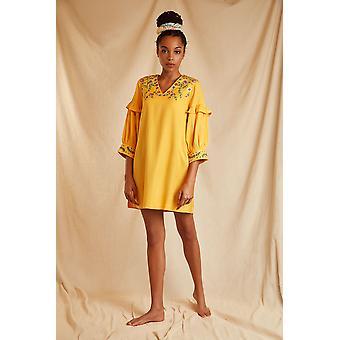 Louche Sustain Womens Safran bestickt Langarm Mini Kleid gelb