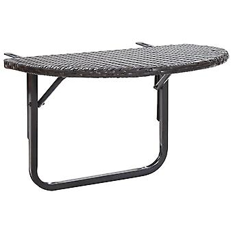 vidaXL balcony table brown 60 x 60 x 50 cm poly rattan