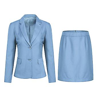 Allthemen Naisten 2-osainen Office Lady Business Suit Set Slim Fit Bleiseri Hame