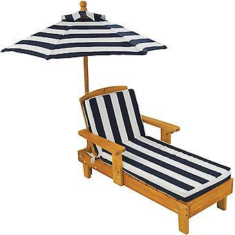 FengChun Liegestuhl Holzliege mit Sonnenschirm - Gartenmbel fr Kinder, Sanmu Holz, Honigfarben,