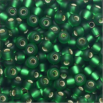 Miyuki Round Seed Beads, 8/0, 22 Gram Tube, #916F Matte Silver Lined Green