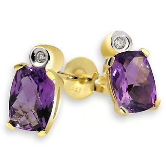 Guldmaidörhängen för kvinnors guldgula ljusa ametist