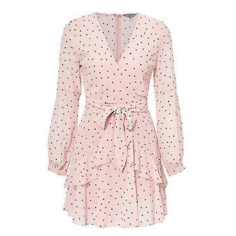 Polka Dot Pink Ruffle Mesh Long Sleeve Vintage Dresses