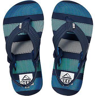 Reef Kids Infants Ahi Summer Beach Holiday Sandals Flip Flops - Deep Sea Stripes