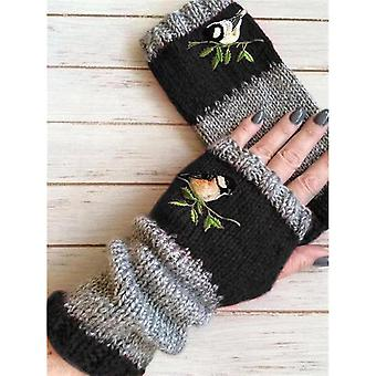 Femmes Faux Fur Épaissir les mitaines chaudes d'hiver Gants à doigts pleins